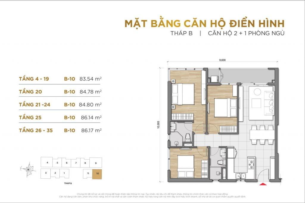 Thiết kế căn hộ 2PN+1 block B The Palace Residence