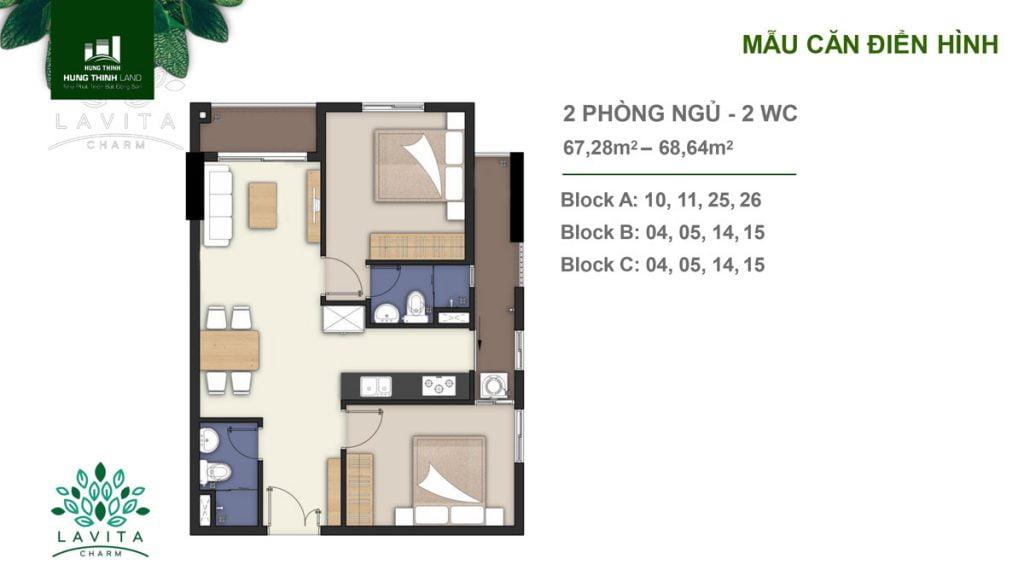 Thiết kế căn hộ 2PN Lavita Charm