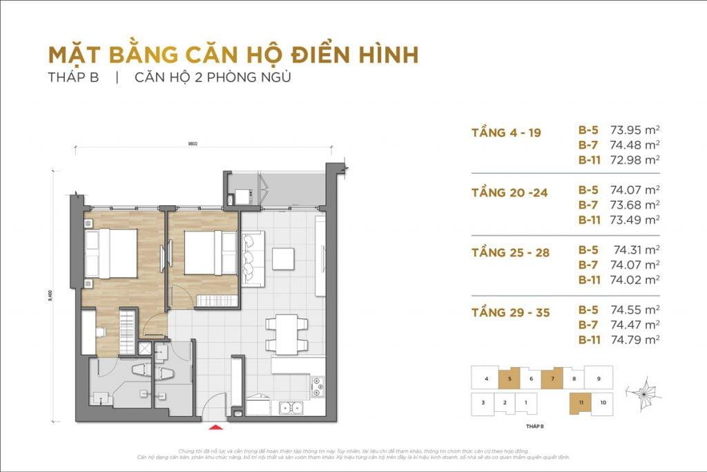Thiết kế căn hộ 2PN block B The Palace Residence