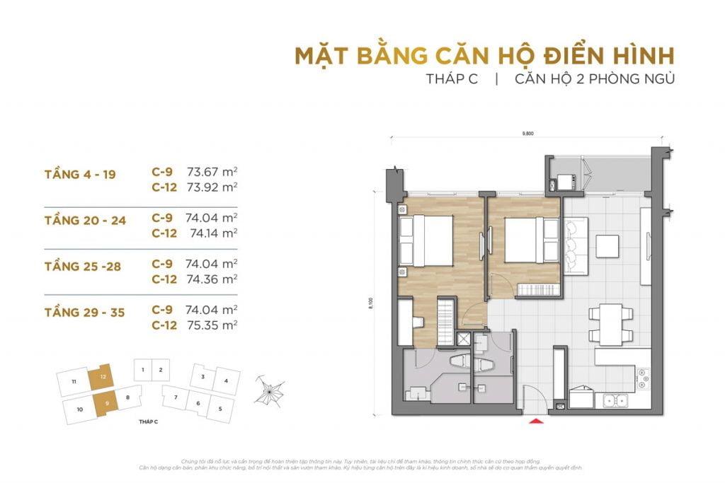 Thiết kế căn hộ 2PN block C The Palace Residence