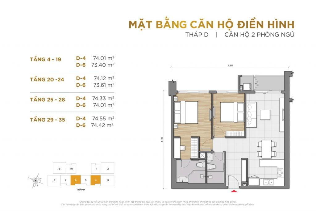 Thiết kế căn hộ 2PN block D The Palace Residence