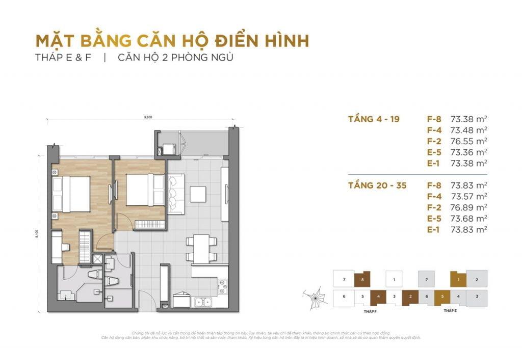 Thiết kế căn hộ 2PN block E và F The Palace Residence