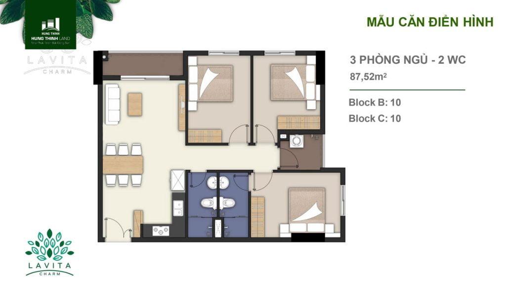 Thiết kế căn hộ 3PN Lavita Charm