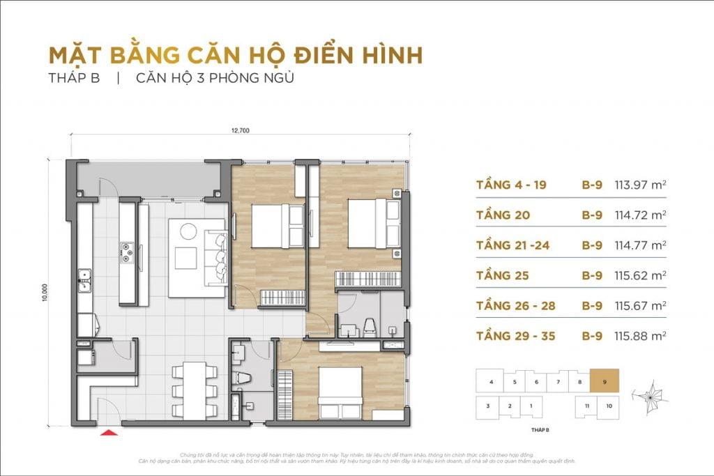 Thiết kế căn hộ 3PN block B The Palace Residence