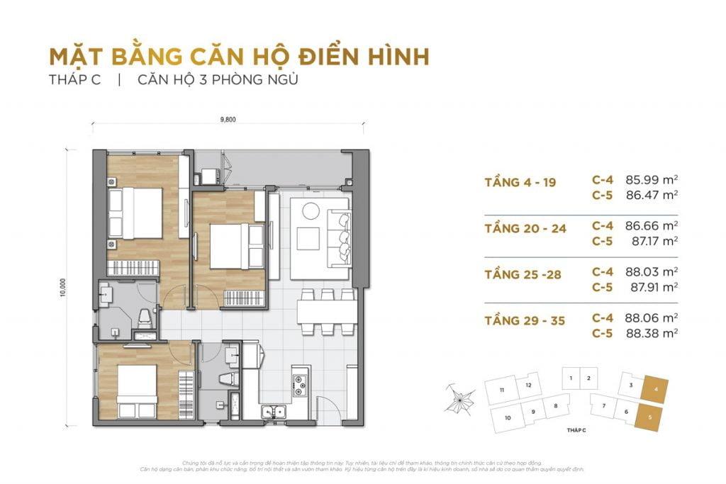 Thiết kế căn hộ 3PN block C The Palace Residence