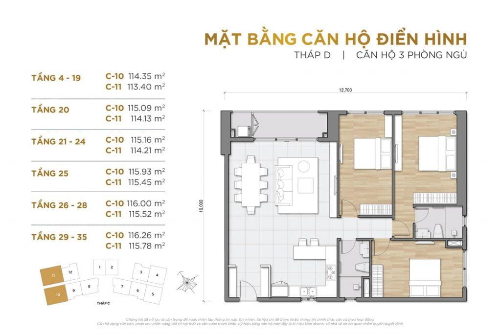 Thiết kế căn hộ 3PN block D The Palace Residence