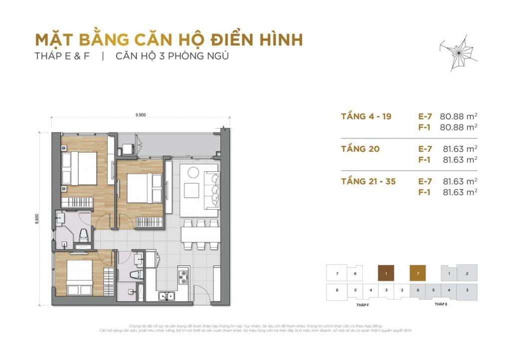 Thiết kế căn hộ 3PN block E và F The Palace Residence