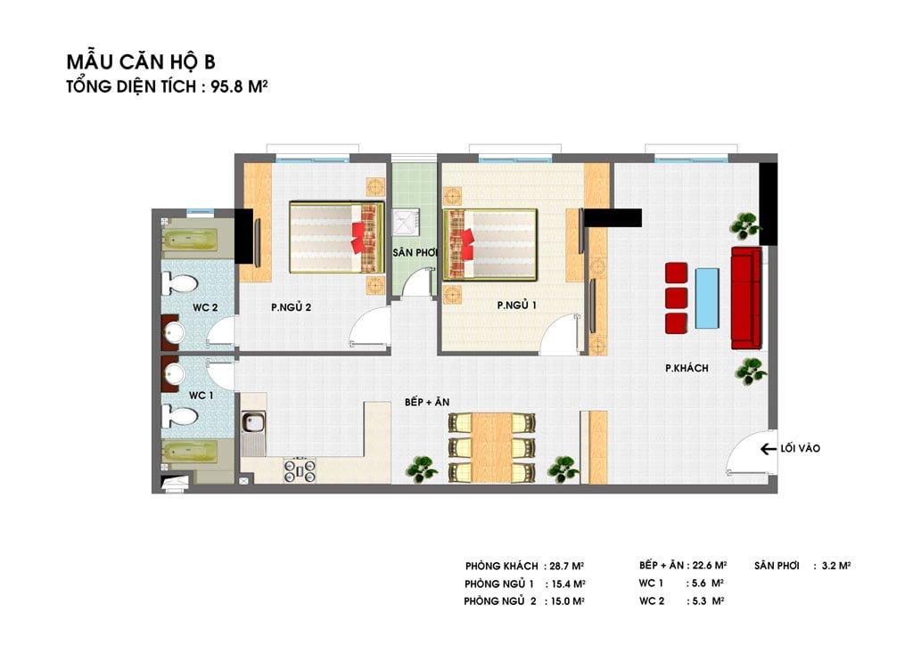 Thiết kế căn hộ B Golden Grand