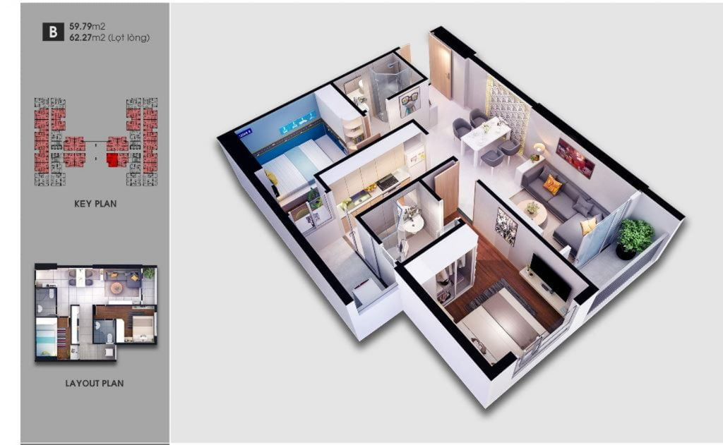 Thiết kế căn hộ loại B Saigon Avenue