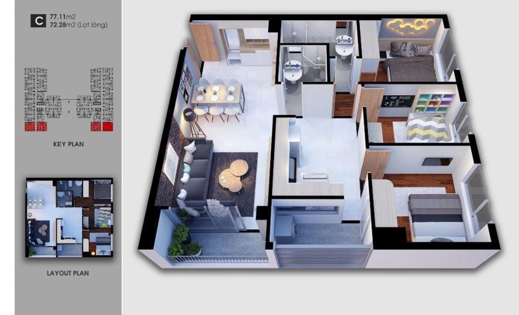 Thiết kế căn hộ loại C Saigon Avenue