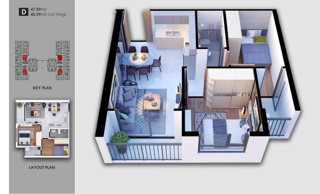 Thiết kế căn hộ loại D Saigon Avenue