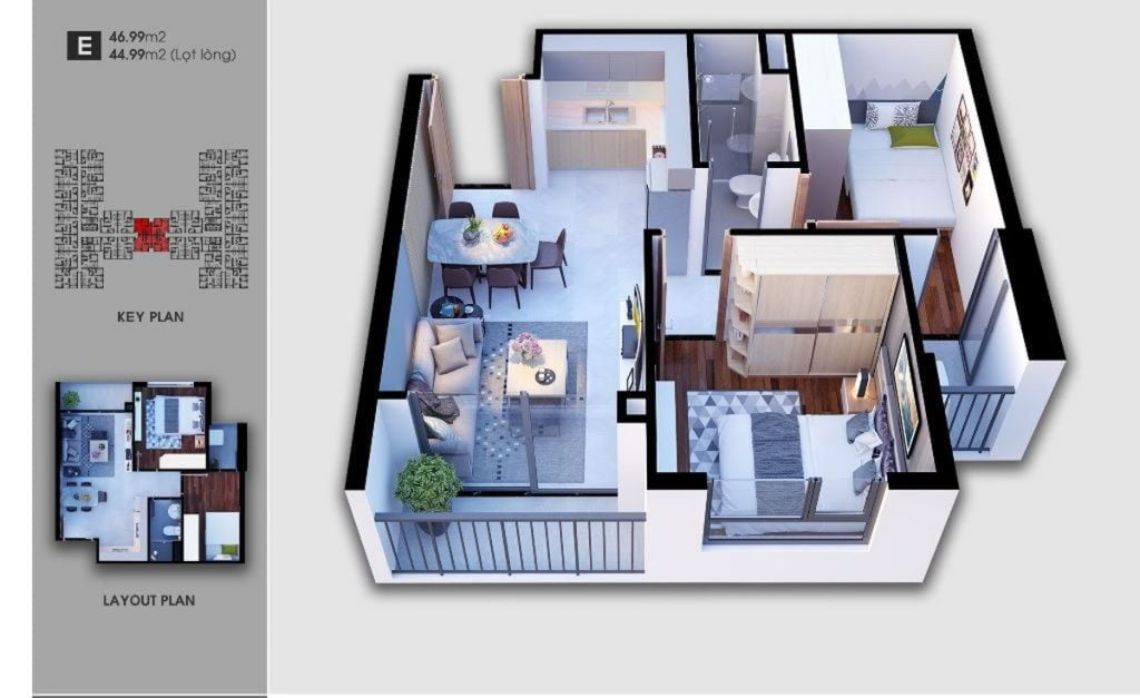 Thiết kế căn hộ loại E Saigon Avenue
