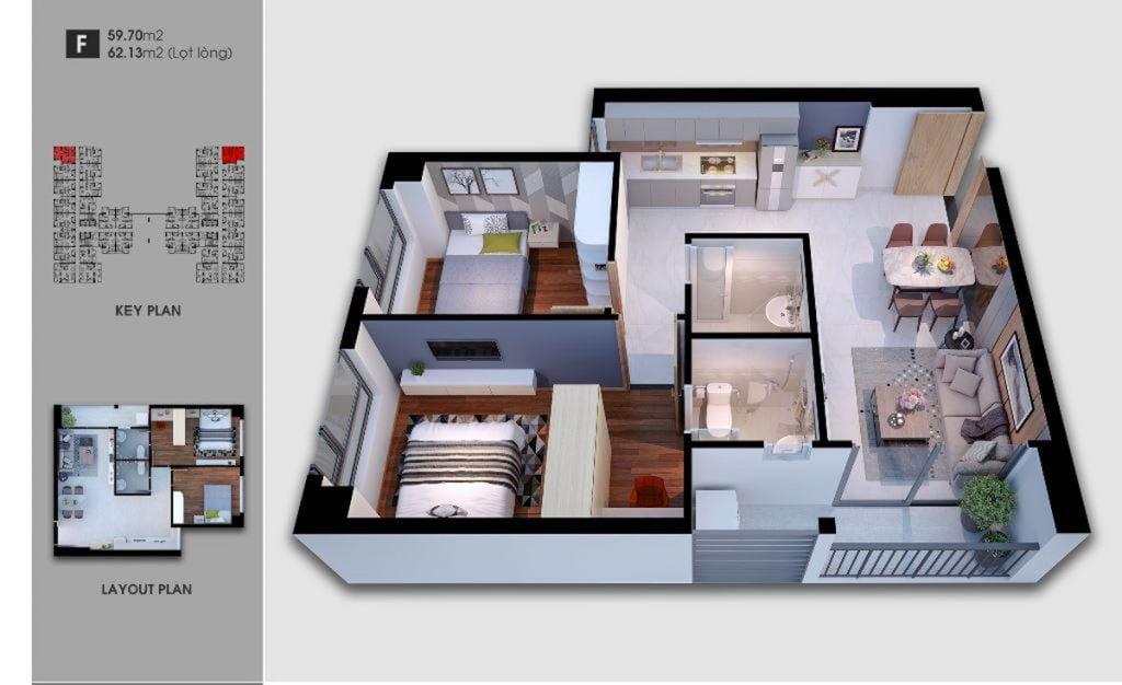 Thiết kế căn hộ loại F Saigon Avenue