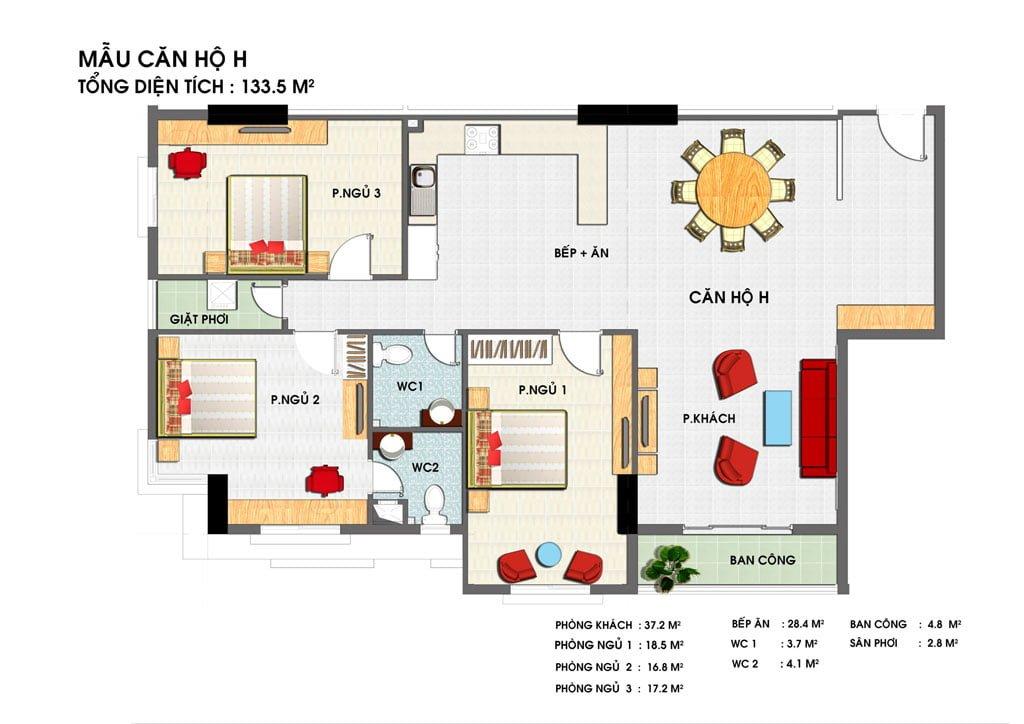Thiết kế căn hộ H Golden Grand