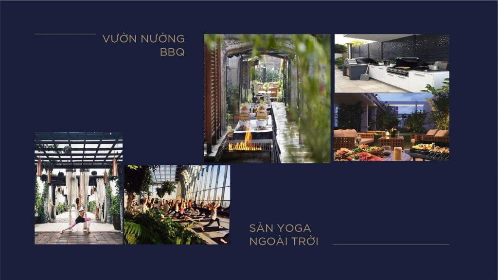 Vườn nướng BBQ, sàn Yoga ngoài trời