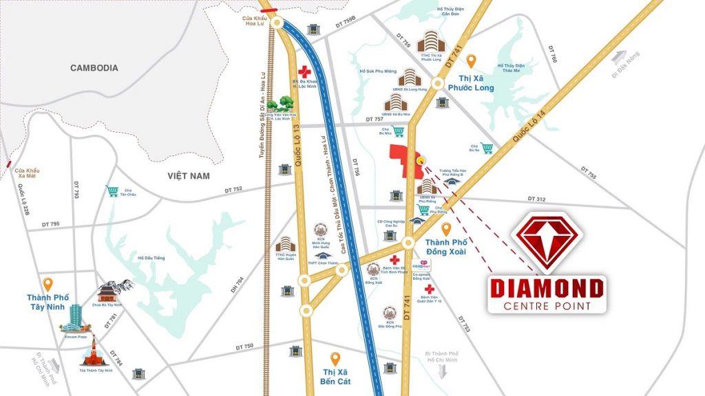 Vị trí dự án Diamond Centre Point Phú Riềng