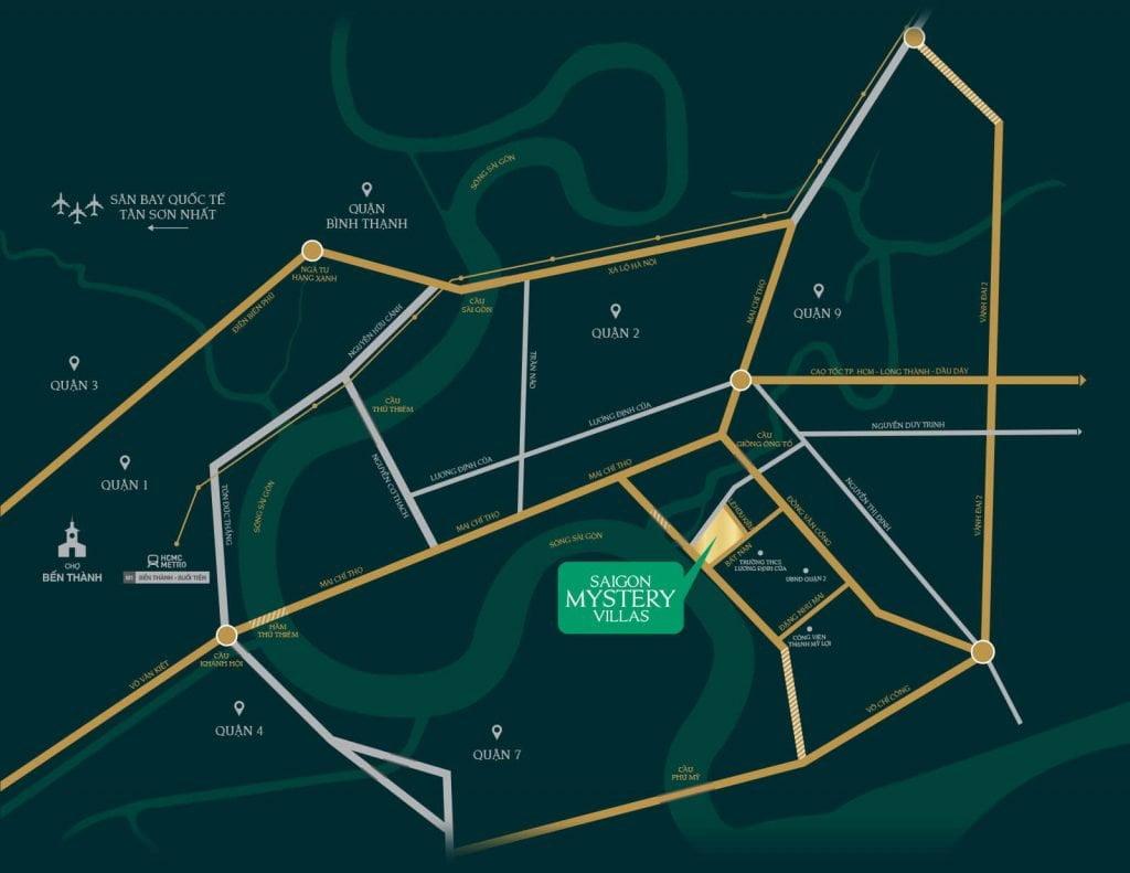 Vị trí khu biệt thự Saigon Mystery Villas Quận 2
