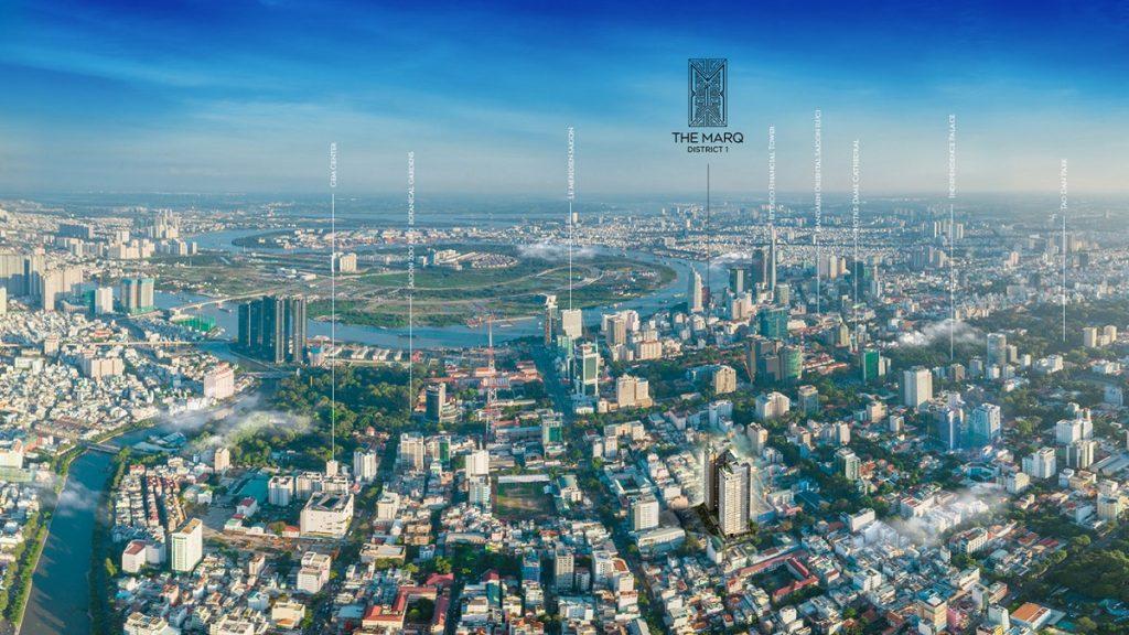 Vị trí thực tế dự án The Marq Nguyễn Đình Chiểu