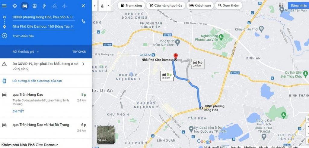 Nhà phố Cite Damour Cách UBND Phường Phường Đông Hòa 2,4km (ngay mặt tiền đường Quốc lộ 1K)