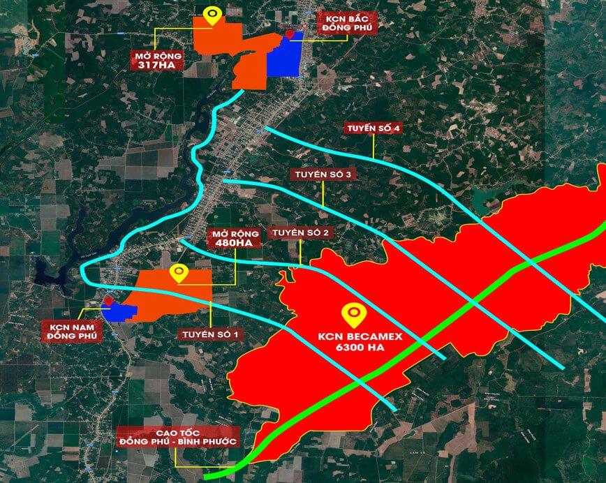 Vị trí các KCN tại huyện Đồng Phú