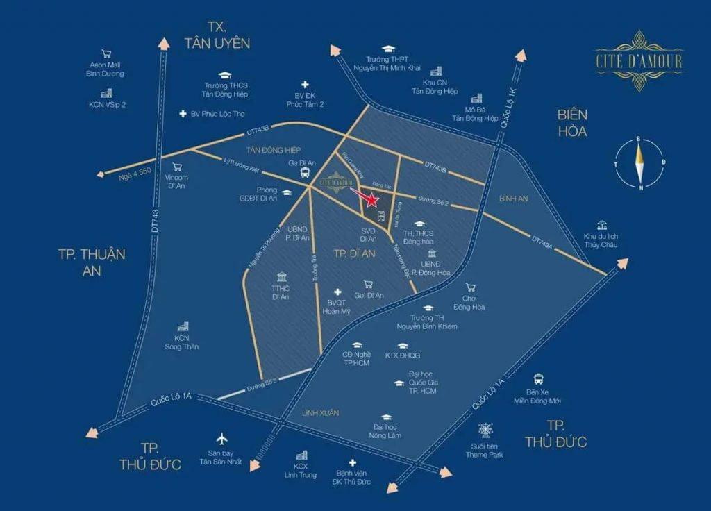 Dự án Cite Damour và các tuyến đường quan trọng xung quanh