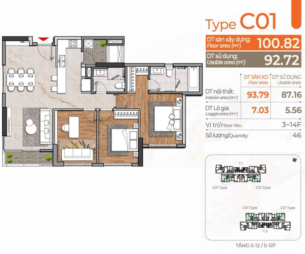 Thiết kế căn hộ 3PN C01 Cardinal Court