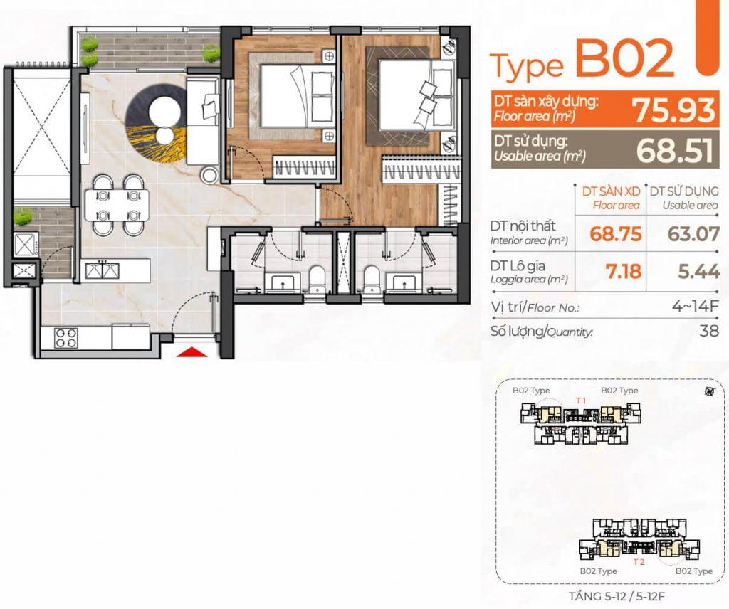 Thiết kế căn hộ 2PN B02 Cardinal Court