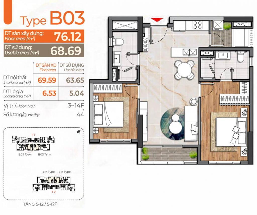 Thiết kế căn hộ 2PN B03 Cardinal Court