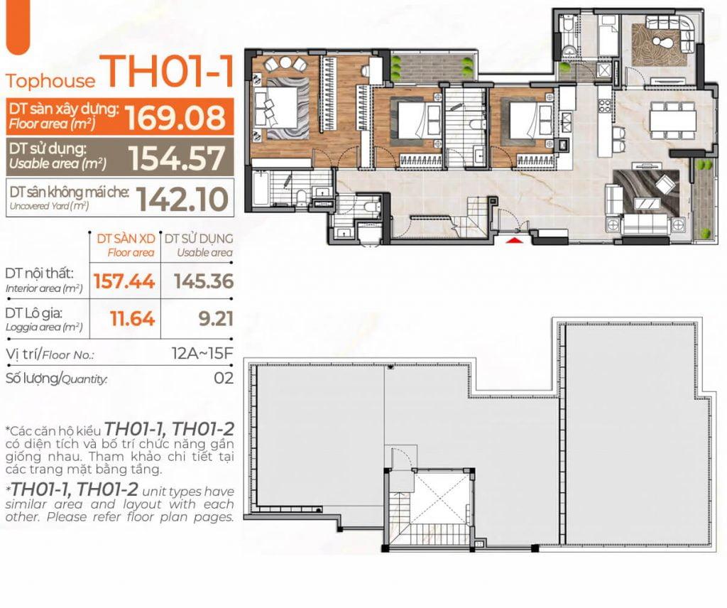 Thiết kế căn hộ 4PN TH01-1 Cardinal Court