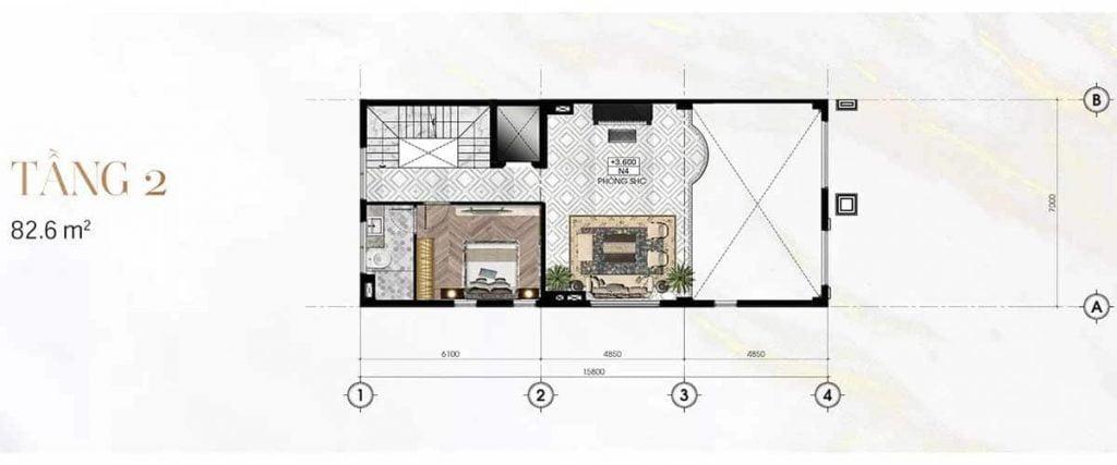 Thiết kế tầng 2 Sunlake Villas