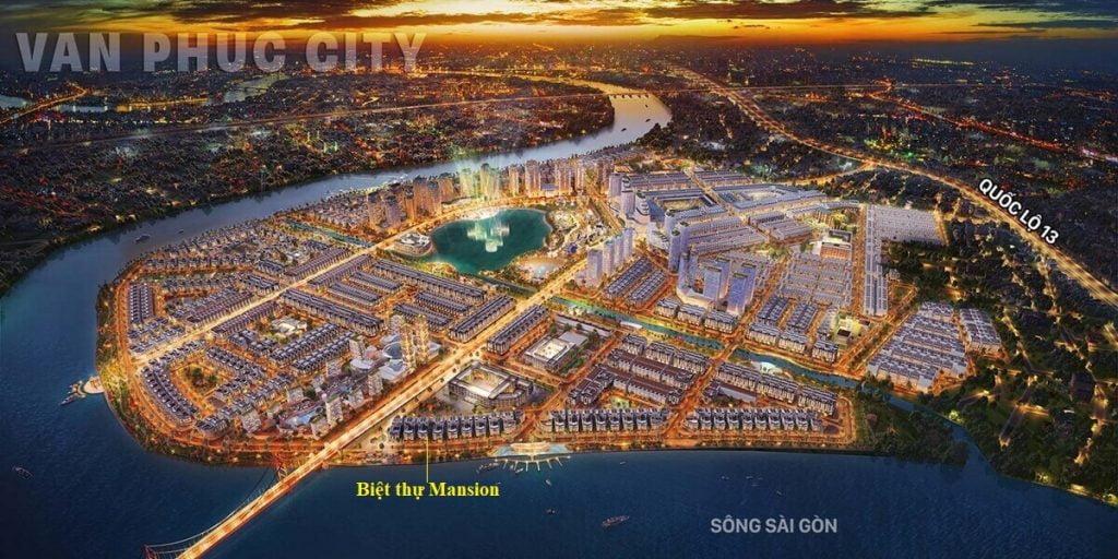 Vị trí biệt thự Mansion trong Vạn Phúc City