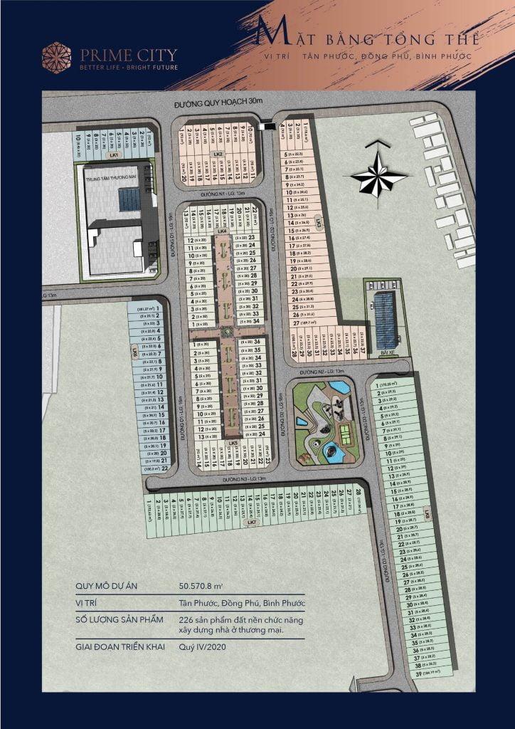 Mặt bằng phân lô đất nền Prime City Bình Phước