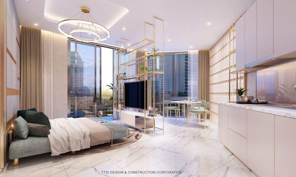 Phòng ngủ cao cấp phong cách mở của Thảo Điền Green Towers