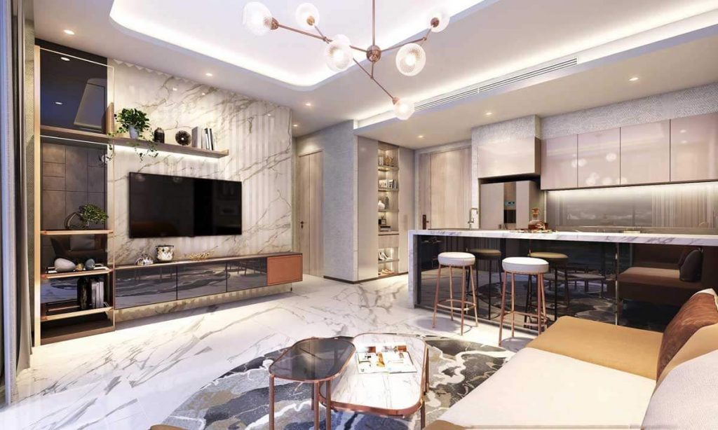 Phòng khách căn hộ mới nhát trong khu Thảo Điền Quân 2 của SIC