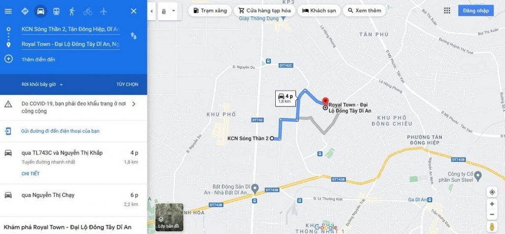 Khu nhà ở Royal Town đến Khu công nghiệp Sóng Thần 2 chỉ 4 phút