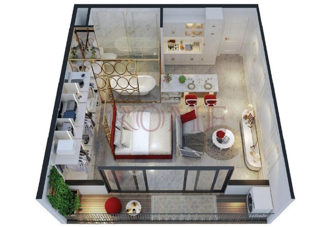 Phối cảnh nội thất căn hộ 1PN dự án Rome Phúc Khang
