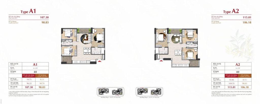 Thiết kế căn hộ A1, A2 The Antonia