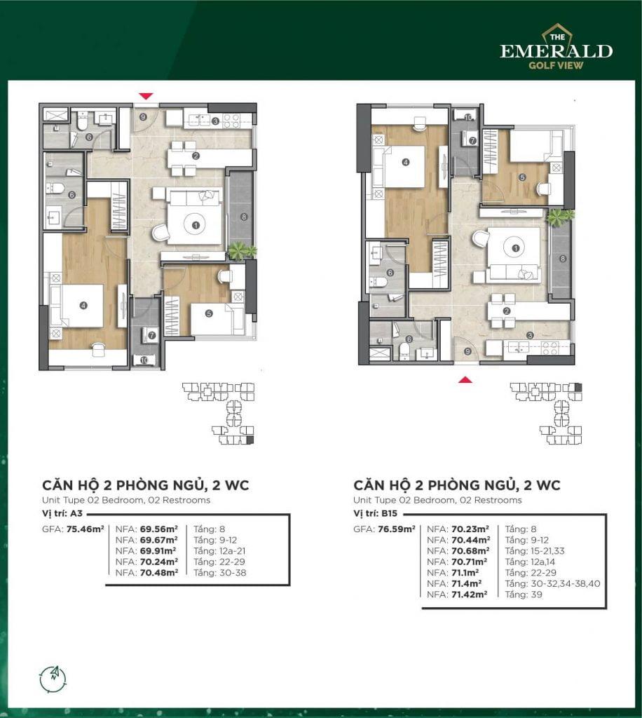 Thiết kế căn hộ A3-B15 The Emerald Golf View