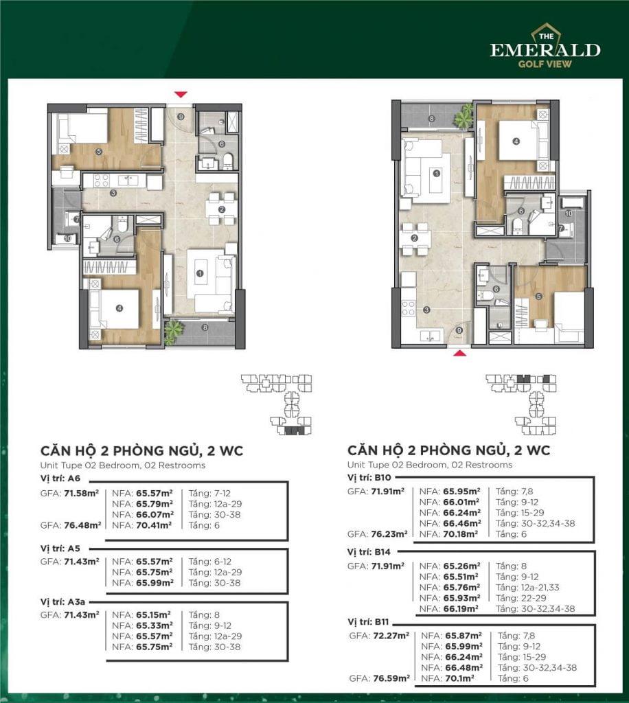 Thiết kế căn hộ A3a-A5-A6-B10-B11-B14 The Emerald Golf View