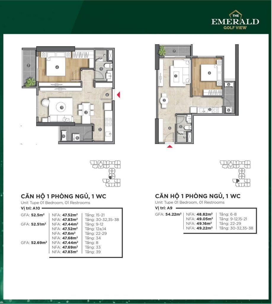 Thiết kế căn hộ A9-A10 The Emerald Golf View