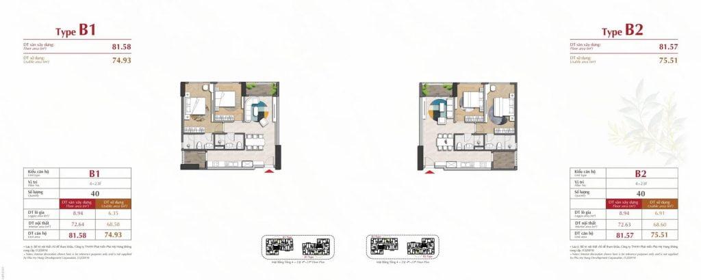 Thiết kế căn hộ B1, B2 The Antonia