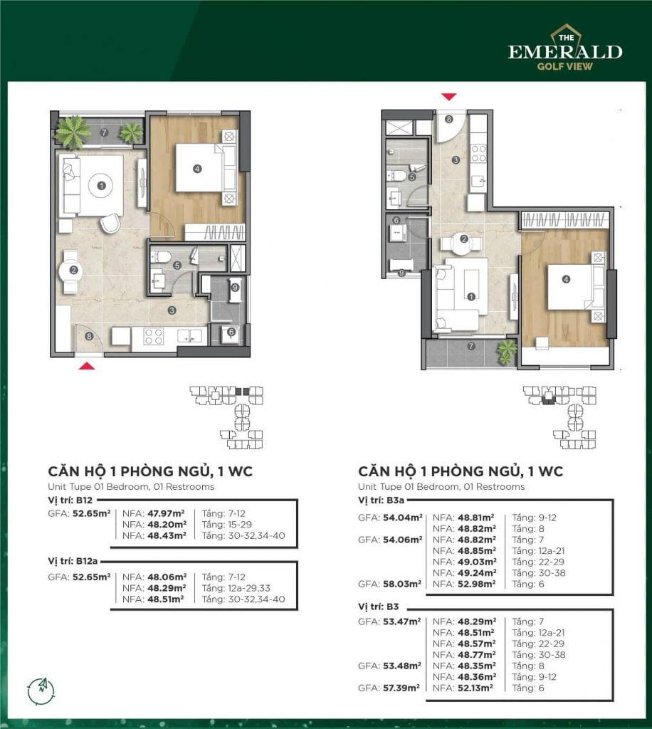 Thiết kế căn hộ B3a-B12 The Emerald Golf View