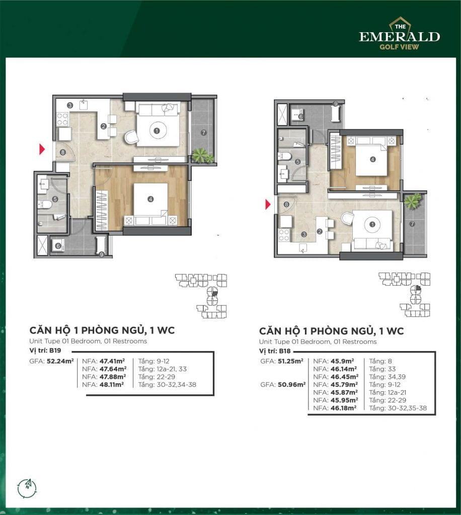 Thiết kế căn hộ B18-B19 The Emerald Golf View