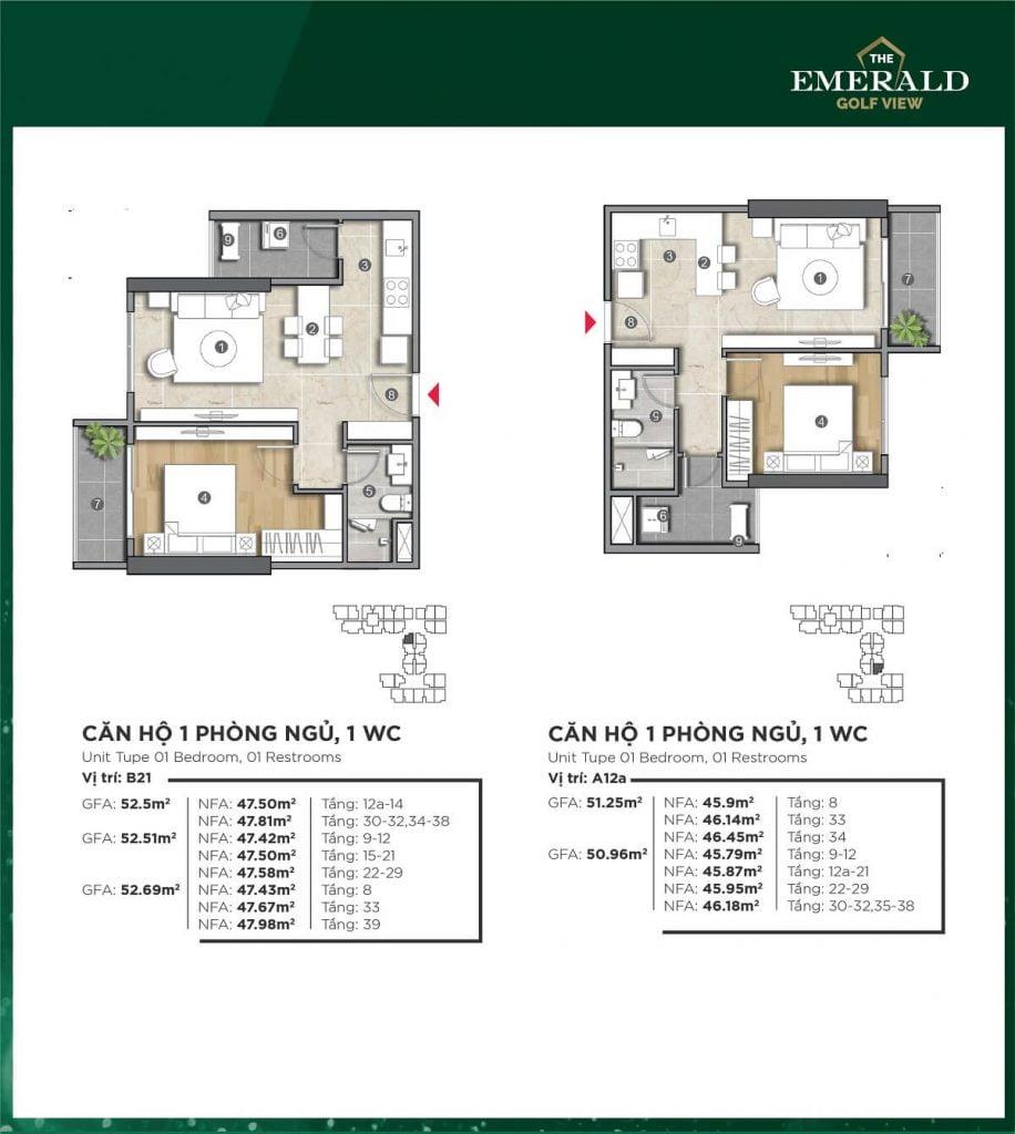 Thiết kế căn hộ A12a-B21 The Emerald Golf View