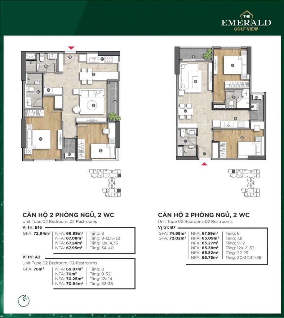 Thiết kế căn hộ B7-B16 The Emerald Golf View