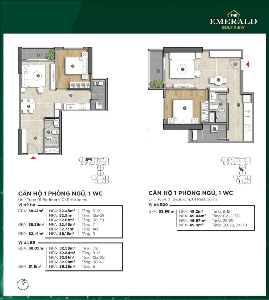 Thiết kế căn hộ B8-B20 The Emerald Golf View