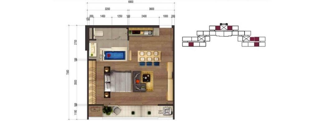 Thiết kế căn hộ 1PN tại dự án Rome Phúc Khang Quận 2