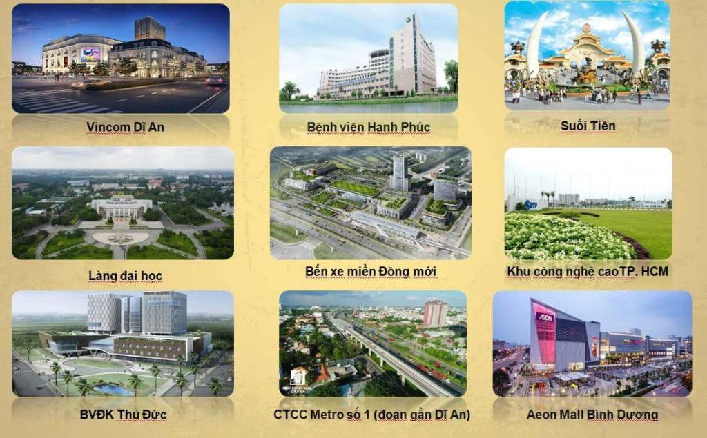 Cite Damour nằm trung tâm của TP Dĩ An nên sở hữu nhiều tiện ích vượt trội trong vòng vài phút
