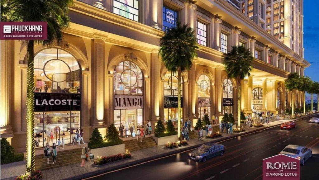 Khu shophouse với nhiều nhãn hàng thương hiệu nổi tiếng tại Rome Diamond Lotus