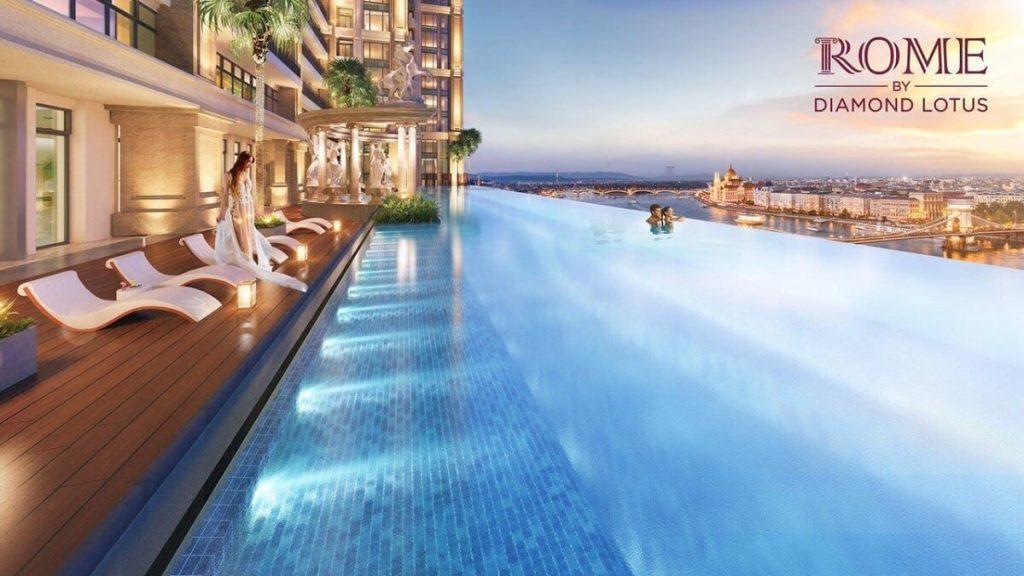 Khu hồ bơi tầng 6 của dự án Diamond Lotus Quận 2